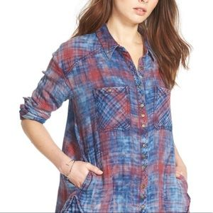 FREE PEOPLE Blue & Red Tie Dye Checkered Flannel